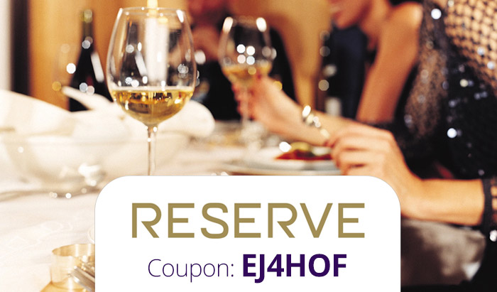 Reserve Promo Code: Use coupon EJ4HOF for $20 off your dining on-demand
