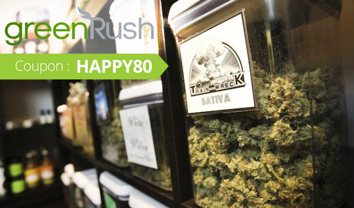 Green Rush Promo Code: Use coupon HAPPY80 for $80 off your weed delivery service