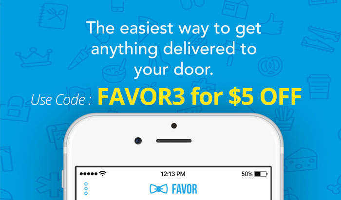 Use the Free Favor Delivery Promo Code FAVOR3 to get $5 off the app