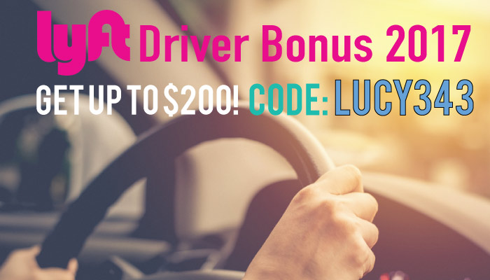 Lyft Driver Bonus 2017: Get a $200 bonus when you sign up as a driver with the code LUCY343