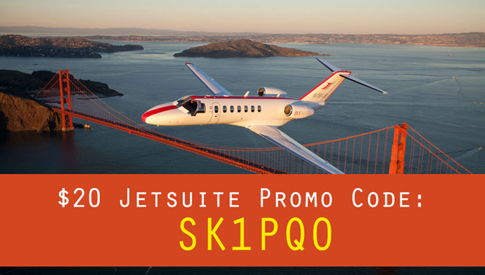JetSuite Deals: Get $20 with the JetSuite promo code SK1PQO (through the refer a friend program)