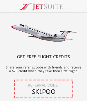 JetSuite Promo Code: Get $20 free with code SK1PQO