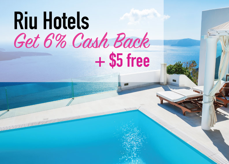 Riu Hotels Discount: Get 6% cash back plus a $5 coupons cash.
