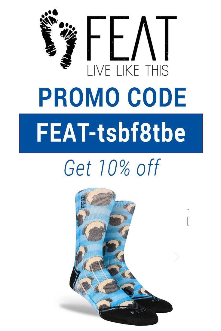 Feat Socks Coupon Code: Use FEAT-tsbf8tbe for 10% off your order!