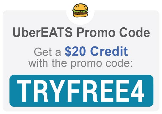 Uber Eats Promo Code: Use 'TRYFREE4' for a $20 discount.