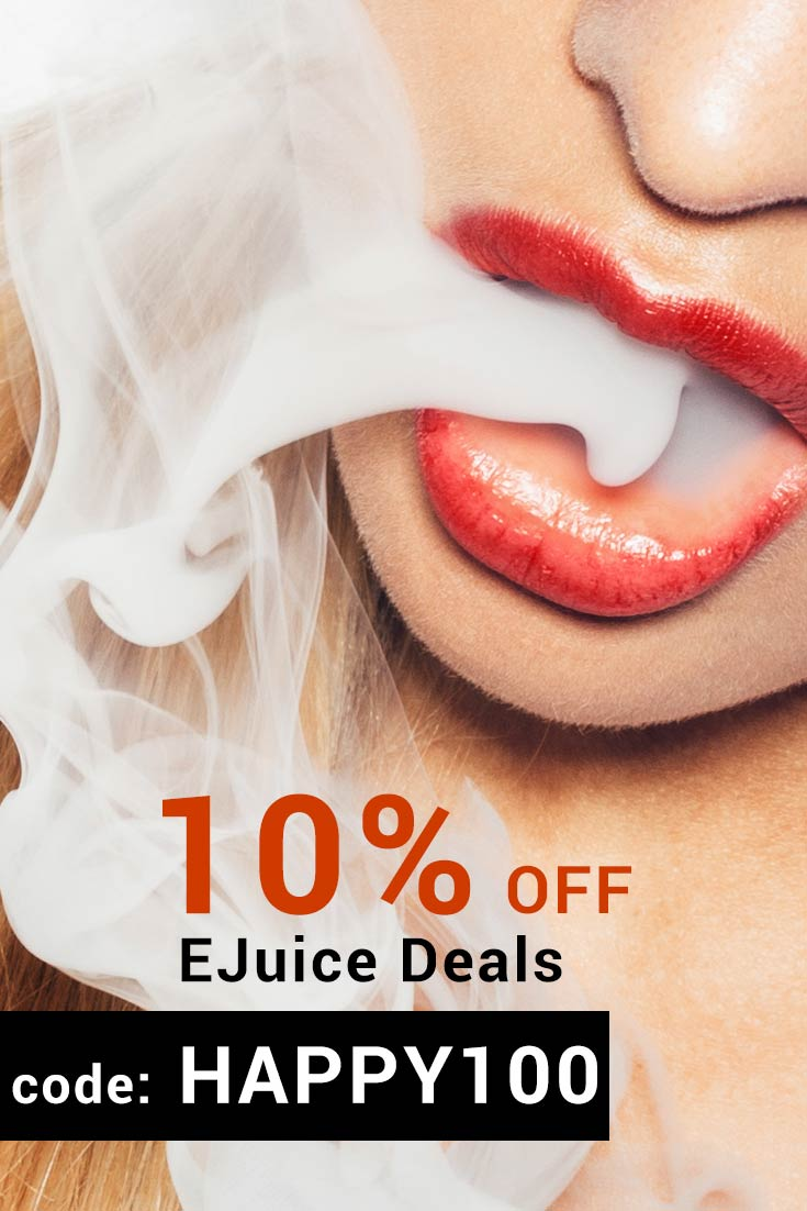 Ejuice Deals Coupon Codes: Code HAPPY100 gets 10% Off