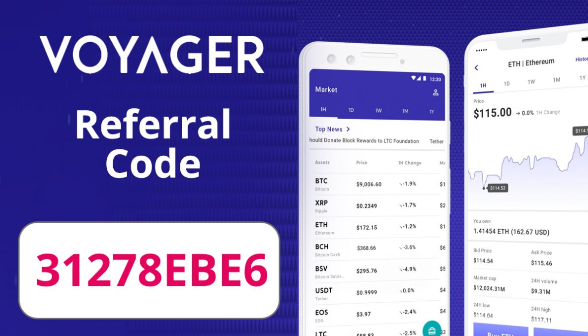 Voyager Referral Code | $25 free BTC code: 31278EBE6